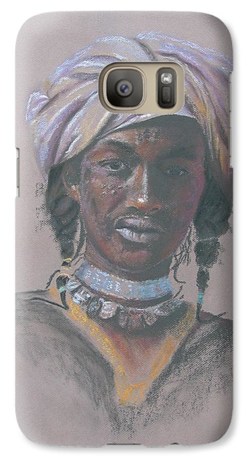 Portrait Galaxy S7 Case featuring the painting Tchad Warrior by Maruska Lebrun