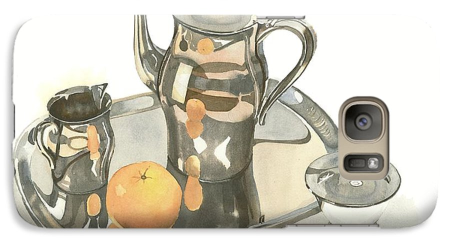 Tea Service With Orange Galaxy S7 Case featuring the painting Tea Service With Orange by Kip DeVore