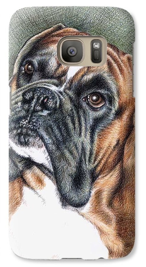 Dog Galaxy S7 Case featuring the drawing The Boxer by Nicole Zeug