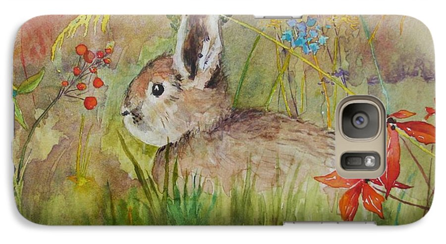Nature Galaxy S7 Case featuring the painting The Bunny by Mary Ellen Mueller Legault
