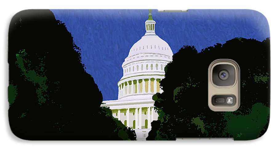 Capitol Galaxy S7 Case featuring the painting The Capitol by Pharris Art