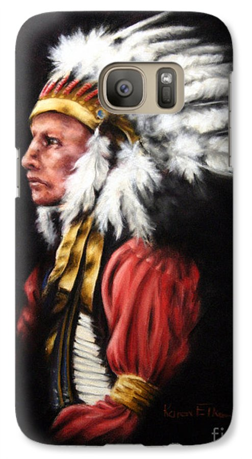 Native American Galaxy S7 Case featuring the pastel The Chief 2 by Karen Elkan
