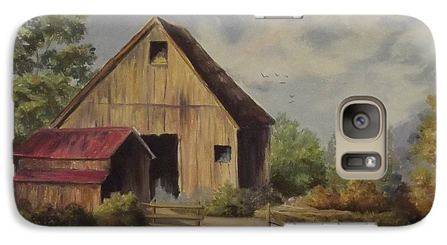 Landscape Galaxy S7 Case featuring the painting The Deserted Barn by Wanda Dansereau