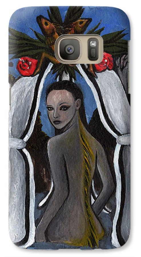Mermaid Galaxy S7 Case featuring the painting The Fable Of The Fish by Ayka Yasis