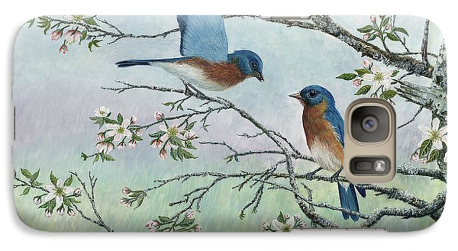 Bluebirds; Trees; Wildlife Galaxy S7 Case featuring the painting The Gift by Ben Kiger