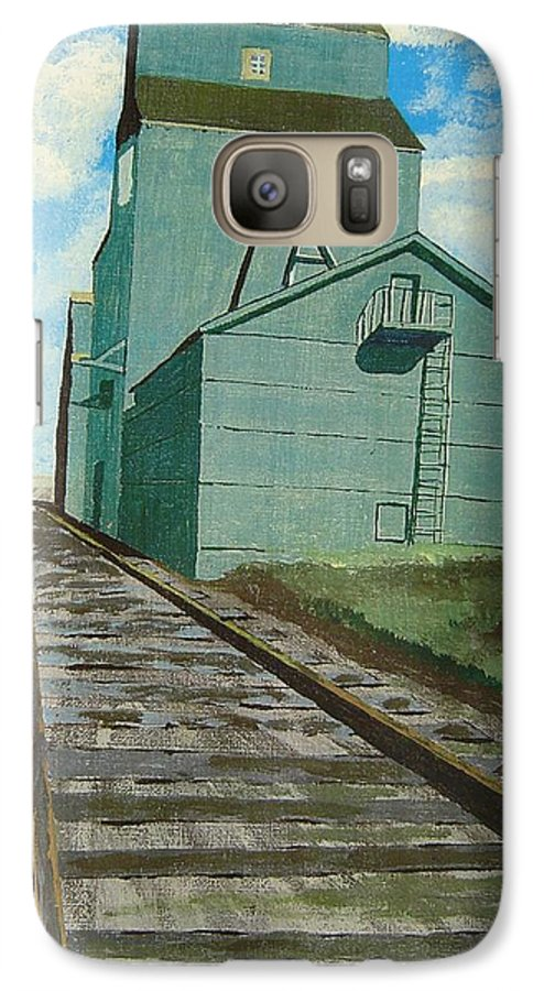 Elevator Galaxy S7 Case featuring the painting The Grain Elevator by Anthony Dunphy