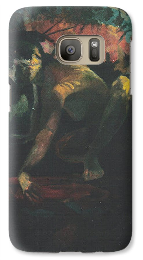 Figure Galaxy S7 Case featuring the painting The Hot Tub by John L Campbell