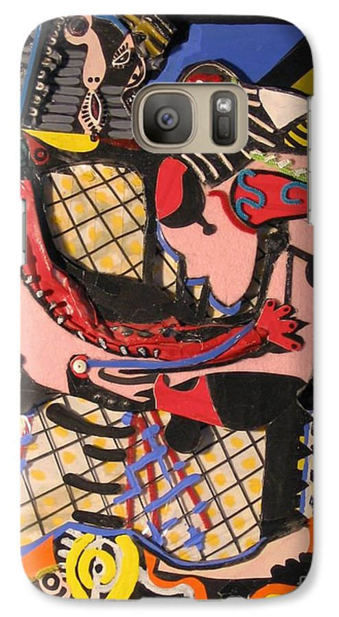 Abstract Galaxy S7 Case featuring the mixed media The Kiss Aka The Embrace After Picasso 1925 by Mack Galixtar