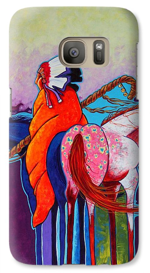 Native American Galaxy S7 Case featuring the painting The Peacemakers Gift by Joe Triano