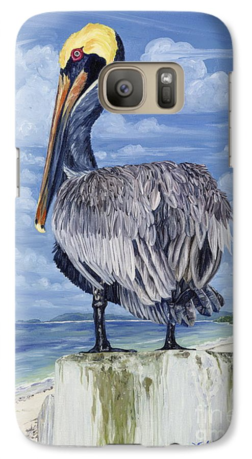 Seascape Galaxy S7 Case featuring the painting The Pelican Perch by Danielle Perry