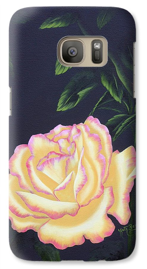 Rose Galaxy S7 Case featuring the painting The Rose by Ruth Bares