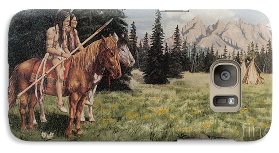 Landscape Galaxy S7 Case featuring the painting The Tetons Early Tribes by Wanda Dansereau