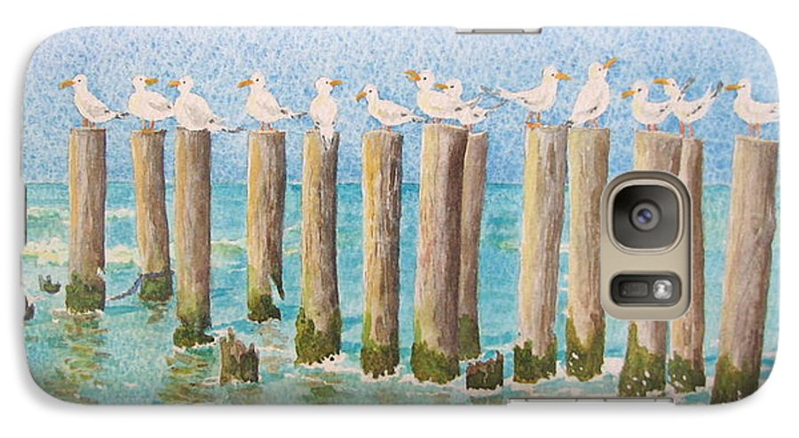 Seagulls Galaxy S7 Case featuring the painting The Town Meeting by Mary Ellen Mueller Legault