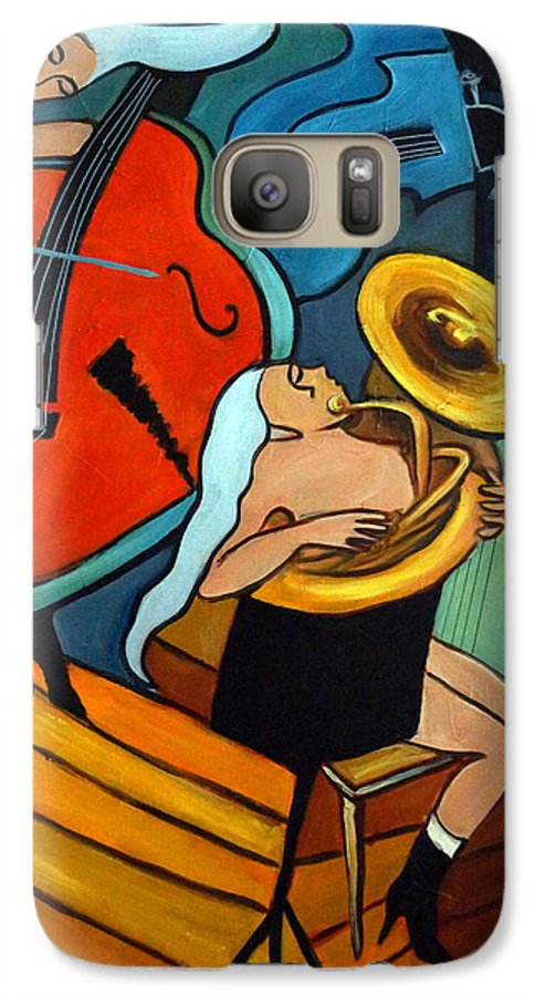 Musician Abstract Galaxy S7 Case featuring the painting The Tuba Player by Valerie Vescovi