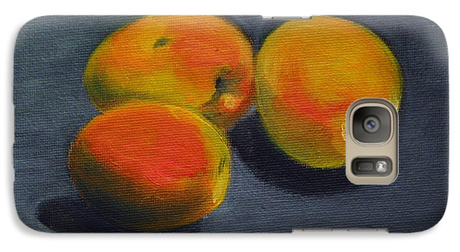 Food Galaxy S7 Case featuring the painting Three Apricots by Sarah Lynch