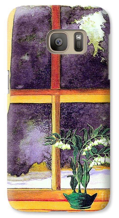 Fine Art Galaxy S7 Case featuring the painting Through The Window by Patricia Griffin Brett