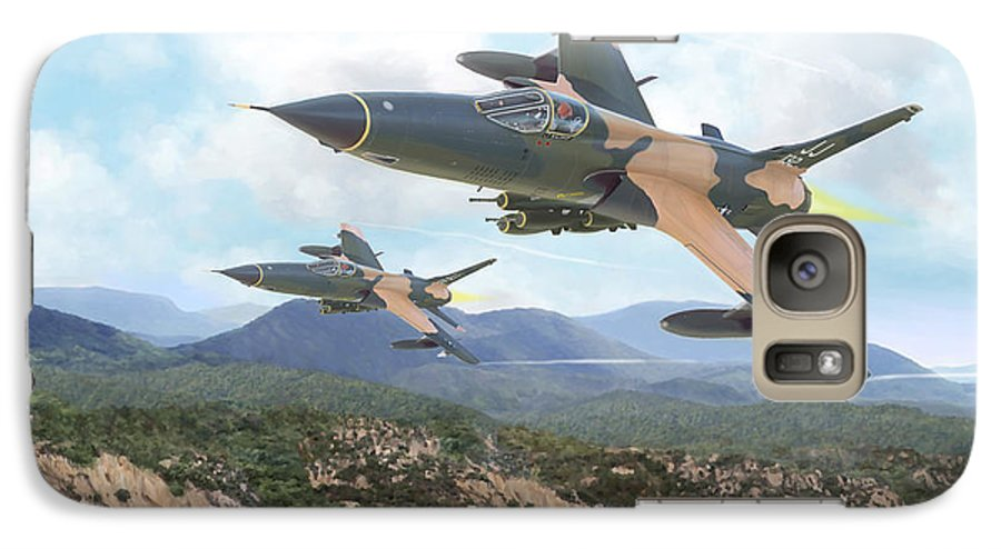 F-105 Thunderchief Galaxy S7 Case featuring the painting Thuds Bringin' It Downtown by Mark Karvon