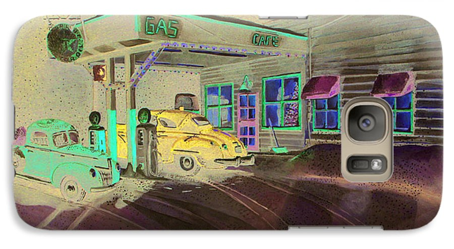 Rick Huotari Galaxy S7 Case featuring the painting Times Past Gas Station by Rick Huotari