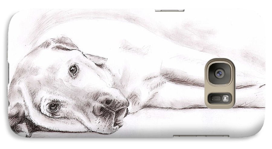 Dog Galaxy S7 Case featuring the drawing Tired Labrador by Nicole Zeug