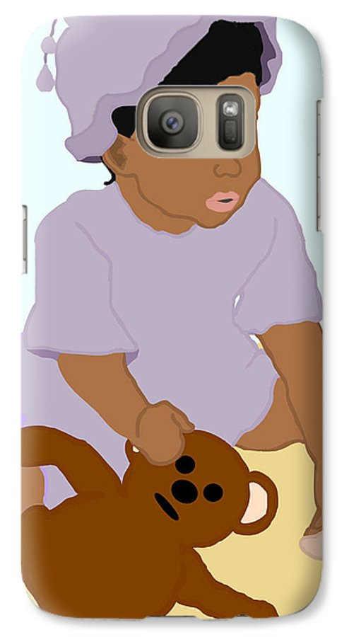 Toddler Galaxy S7 Case featuring the painting Toddler And Teddy by Pharris Art