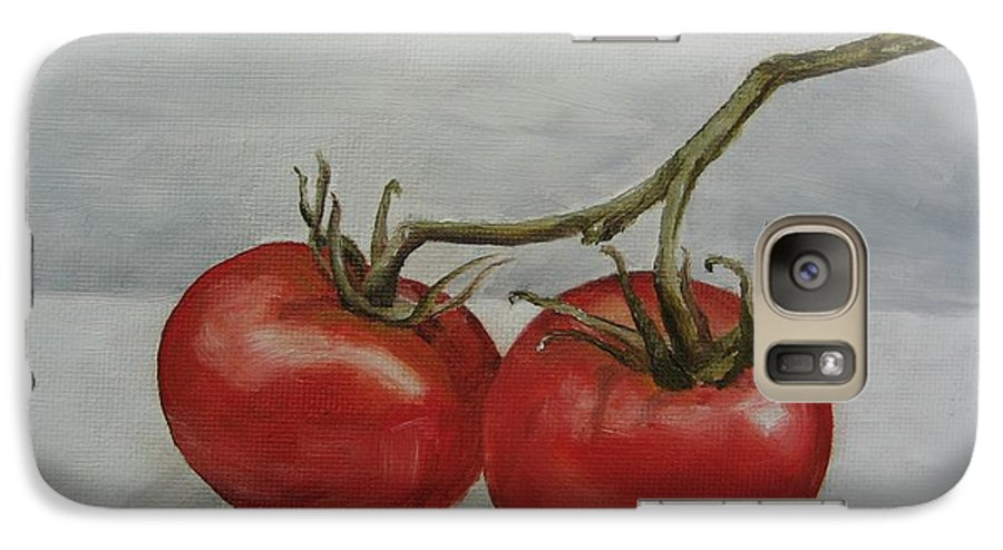 Oil Galaxy S7 Case featuring the painting Tomatoes On Vine by Jindra Noewi