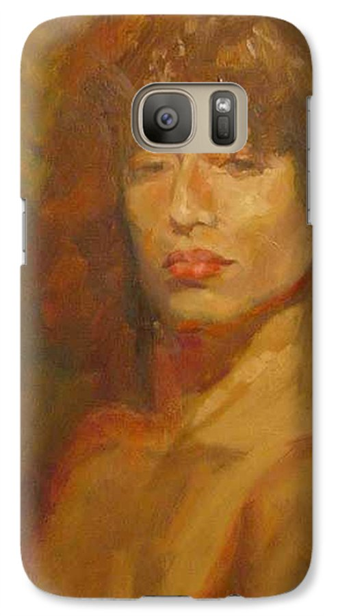 Portrait Galaxy S7 Case featuring the painting Tracy by Irena Jablonski
