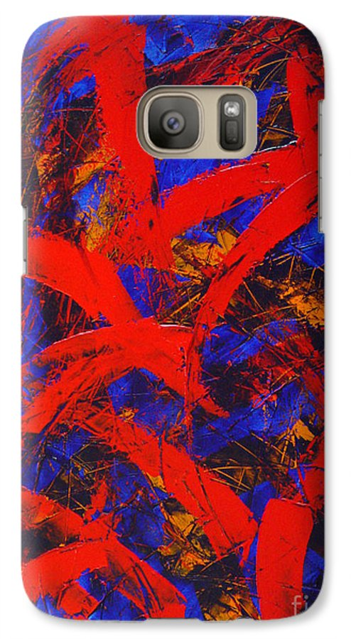 Abstract Galaxy S7 Case featuring the painting Transitions With Blue And Red by Dean Triolo