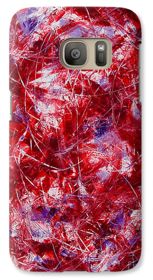 Abstract Galaxy S7 Case featuring the painting Transitions With White Red And Violet by Dean Triolo