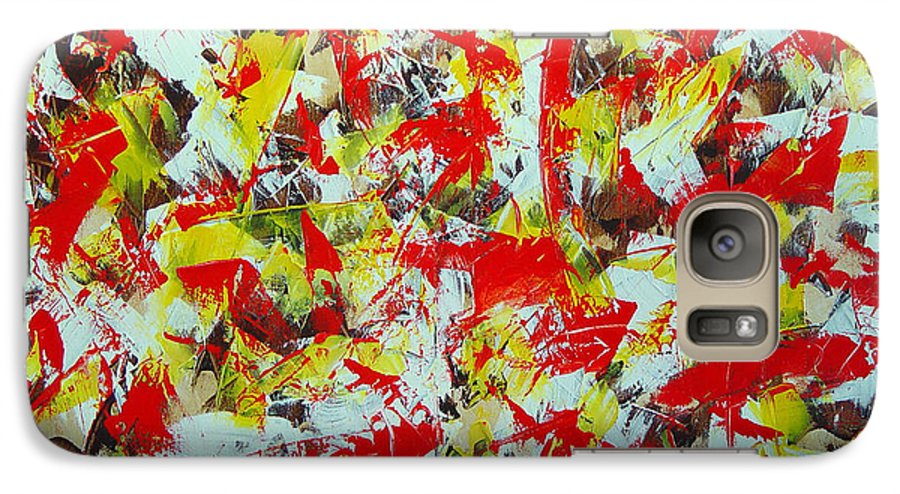 Abstract Galaxy S7 Case featuring the painting Transitions With Yellow Brown And Red by Dean Triolo