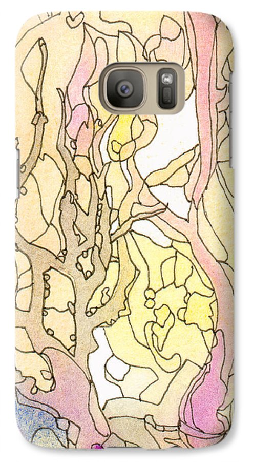 Landscape Galaxy S7 Case featuring the painting Trees In The Morning by Christina Rahm Galanis