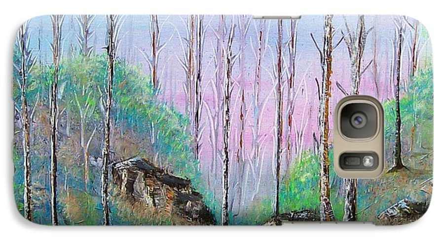 Landscape Galaxy S7 Case featuring the painting Trees With Cuatro by Tony Rodriguez