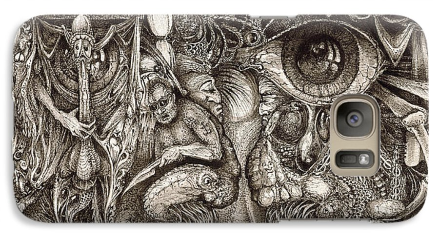 Surreal Galaxy S7 Case featuring the drawing Tripping Through Bogomils Mind by Otto Rapp