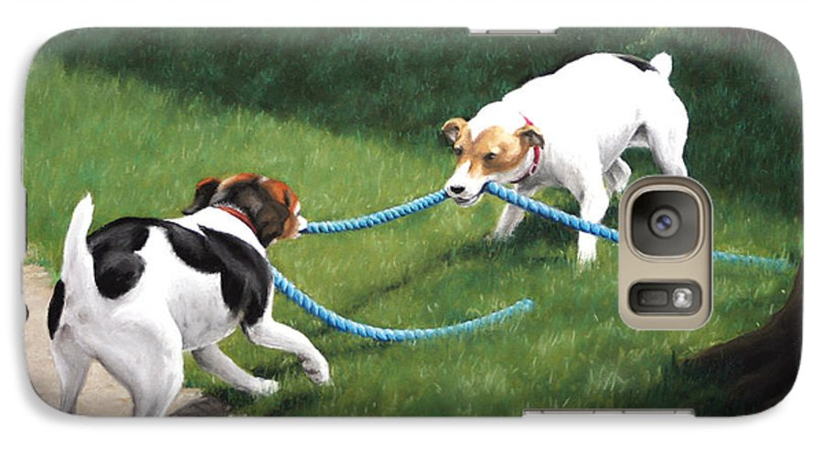 Jack Russel Terriers Playing Galaxy S7 Case featuring the pastel Tug-o-war by Karen Elkan