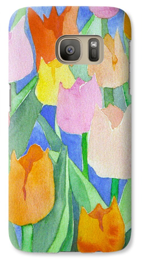 Tulips Galaxy S7 Case featuring the painting Tulips Multicolor by Christina Rahm Galanis