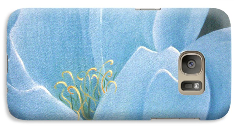 Turquoise Galaxy S7 Case featuring the painting Turquoise Waterlily by Christina Rahm Galanis