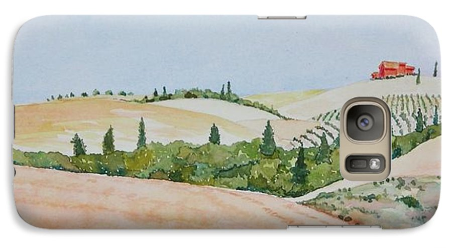 Landscape Galaxy S7 Case featuring the painting Tuscan Hillside One by Mary Ellen Mueller Legault