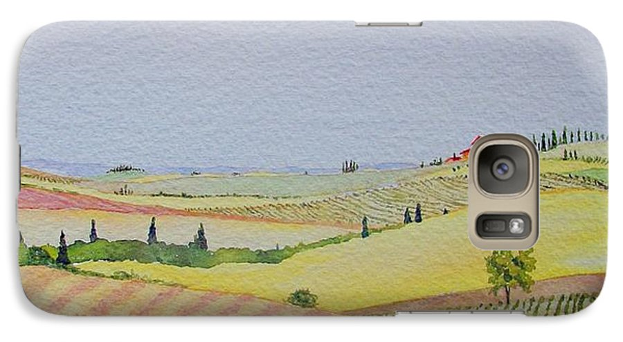 Watercolor Galaxy S7 Case featuring the painting Tuscan Hillside Three by Mary Ellen Mueller Legault