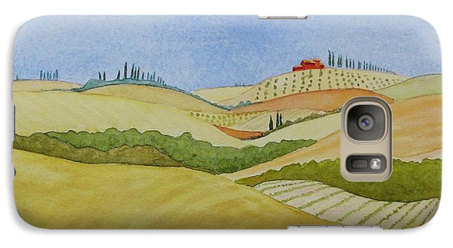 Italy Galaxy S7 Case featuring the painting Tuscan Hillside Two by Mary Ellen Mueller Legault