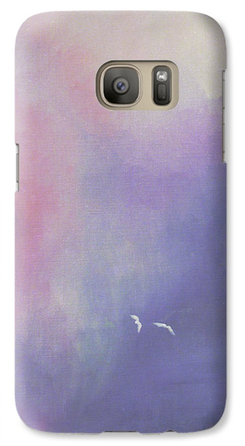 Sky Galaxy S7 Case featuring the painting Two Birds Flying In Ravine. by Christina Rahm Galanis