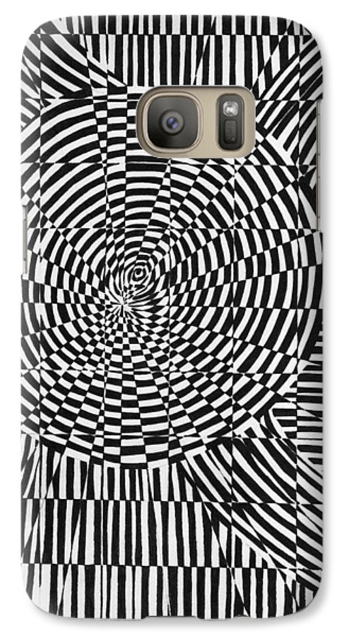 Abstract Galaxy S7 Case featuring the drawing Unraveled by Crystal Hubbard