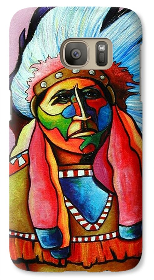 American Indian Galaxy S7 Case featuring the painting Until I'm Breathless by Joe Triano