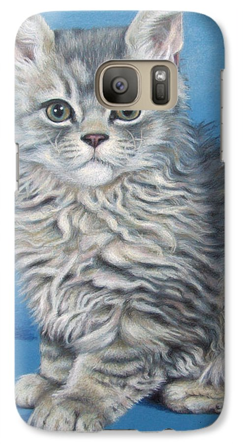 Cat Galaxy S7 Case featuring the drawing Velvet Kitten by Nicole Zeug