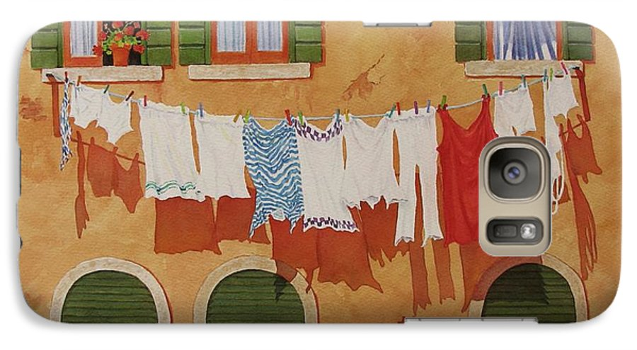 Venice Galaxy S7 Case featuring the painting Venetian Washday by Mary Ellen Mueller Legault