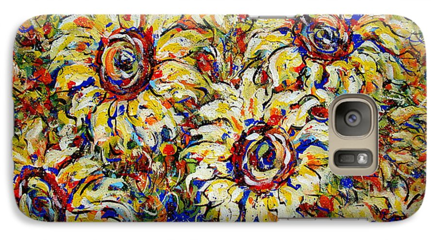 Flowers Galaxy S7 Case featuring the painting Vibrant Sunflower Essence by Natalie Holland