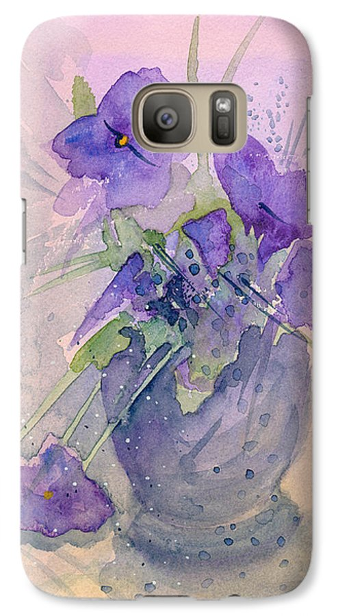Purple Galaxy S7 Case featuring the painting Violets by Christina Rahm Galanis
