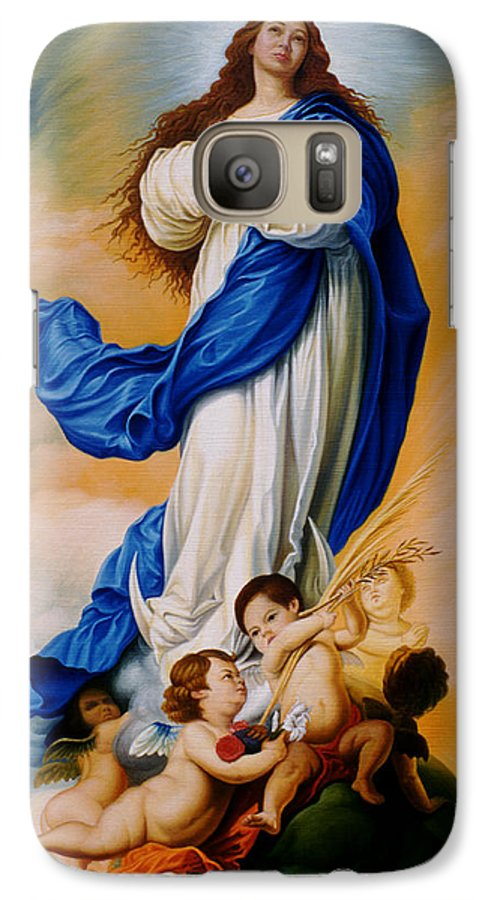 Immaculate Conception Galaxy S7 Case featuring the painting Virgin Of The Immaculate Conception After Murillo by Gary Hernandez
