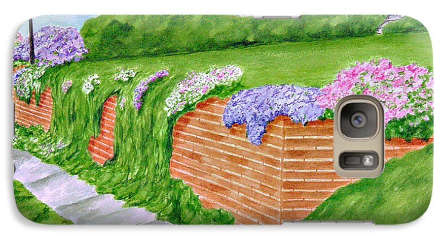 Landscape Galaxy S7 Case featuring the painting Wall Of Flowers by Regan J Smith