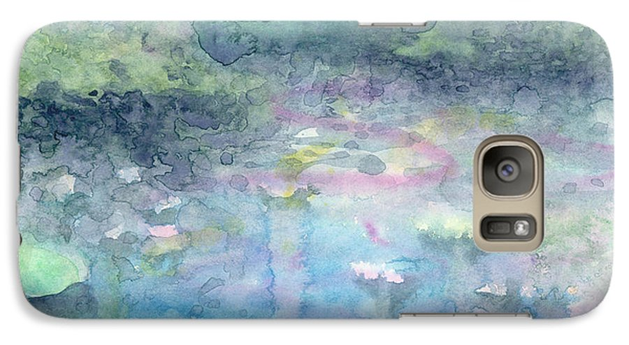 Blue Galaxy S7 Case featuring the painting Water Landscape by Christina Rahm Galanis