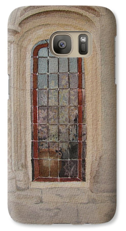Window Galaxy S7 Case featuring the painting What Is Behind The Window Pane by Mary Ellen Mueller Legault