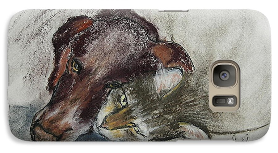 Dog Galaxy S7 Case featuring the drawing Whisker To Whisker by Cori Solomon